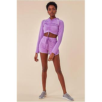 Cosmochic Jersey Short Set With Drawstring Top - Purple