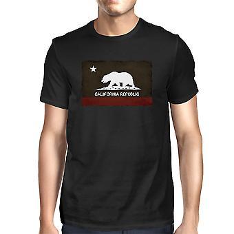 California Republic Flag Men's Graphic tee - Cool Black T-Shirt