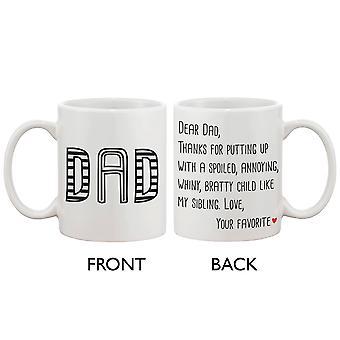 Sjove erklæring keramisk kaffekop for far - fra din foretrukne barn, bedste fars dag gave til far 11 ounce Krus