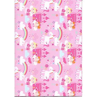 Children's Assorted Gift Wrap Sheets 50-70cm - Princess & Unicorn