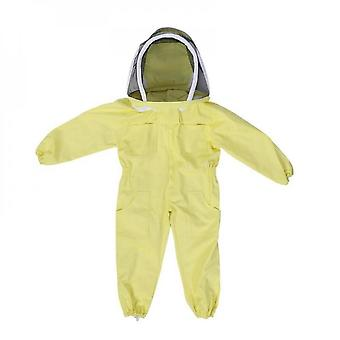 Children's Jumpsuit With Professional Protective Veil Yellow Bee-proof Clothing With Bee Cap Cotton Long Sleeves (l)