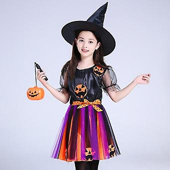 High quality children girls halloween cosplay witch costume teens baby girl gown infant witch dress clothing set hat