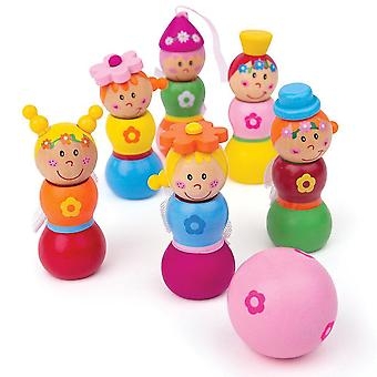 Bowling toys mini wooden fairy skittles set with 6 skittles and 1 bowling ball