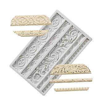 Cake pans molds baroque scroll relief border silicone molds flower