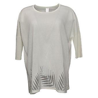 WynneLayers Women's Sweater Burnout Knit Poncho White 762058
