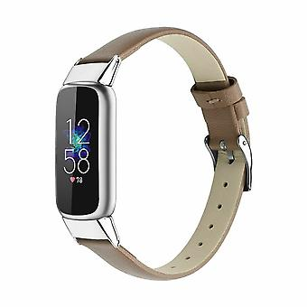 for Fitbit Luxe / Special Edition Band Strap Genuine Leather Replacement Wrist[Light Brown]