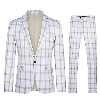 Yunyun Homme 2 pièces Costume Veste à carreaux à une poitrine Senior Costume Veste + pantalon
