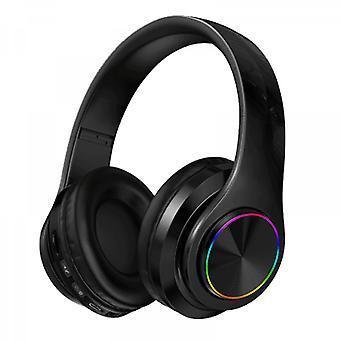 Auriculares Bluetooth luminosos Montados en la cabeza Subwoofer Estéreo Teléfono móvil Tarjeta inalámbrica Auriculares de regalo Negro