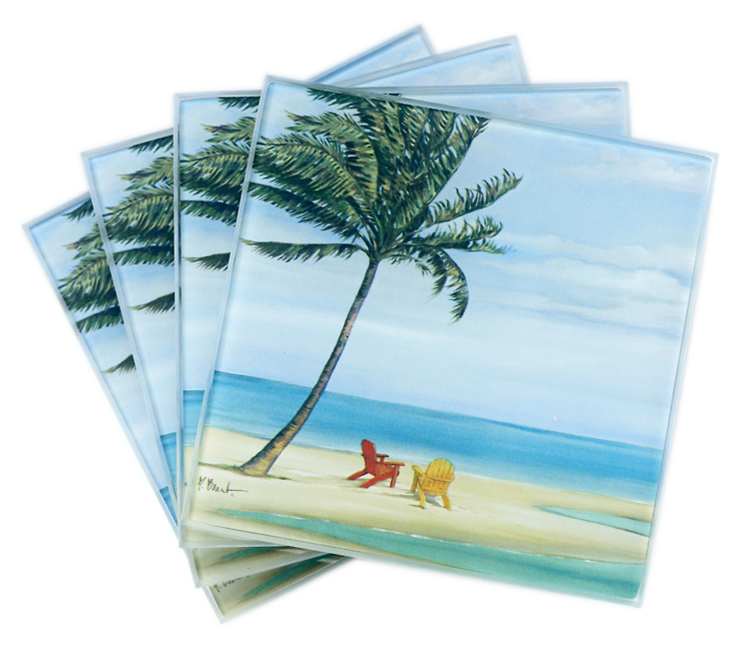 Inlet Palm Swaying in Wind Beach Scene Glass Drink Coasters Set of 4