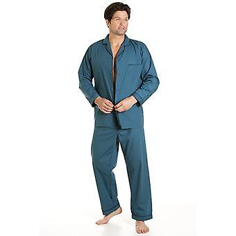 Haigman Haigman Style classique Mens pleine longueur Teal vert ensemble Pyjama