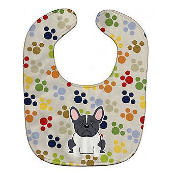 Carolines Treasures  BB5841BIB Pawprints French Bulldog Black White Baby Bib