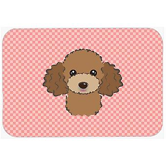 Checkerboard Pink Chocolate Brown Poodle Mouse Pad, Hot Pad or Trivet