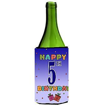 Glad 5e födelsedag vin flaska dryck isolator Hugger
