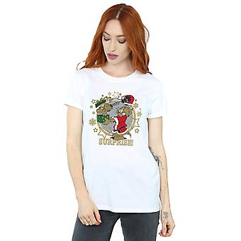 Tom And Jerry Women's Christmas Surprise Boyfriend Fit T-Shirt