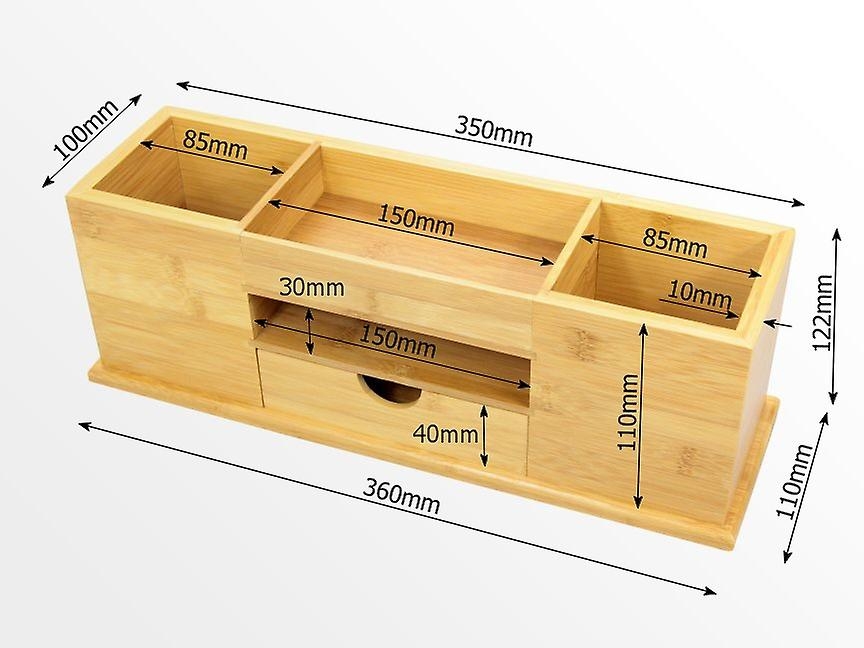 Woodquail Bamboo Desk Tidy with Drawer, Wide Stationery Organiser 5 Compartments