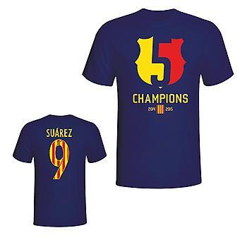 バルセロナ 2015年ルイス スアレス チャンピオン t シャツ (ネイビー)