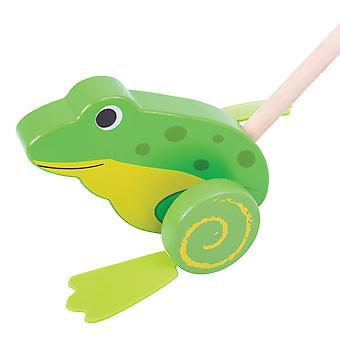 Bigjigs Toys Wooden Frog Push Along Walker Walking Toy Mobility Learn