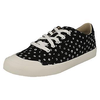 Childrens Unisex Clarks Lace Up Canvas Shoes Comic Step - Black Combi - UK Size 13.5G - EU Size 32.5 - US Size 1W