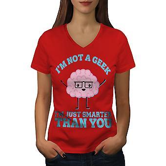 Olen Smarter Funy Women RedV-Neck T-paita | Wellcoda, mitä sinä olet?
