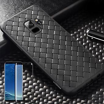 For Samsung Galaxy S9 original ROCK silicone case pouch case Black + 4 d glass