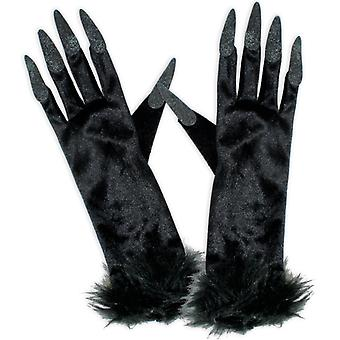 Witch Gloves black long fingernails accessory Halloween witch