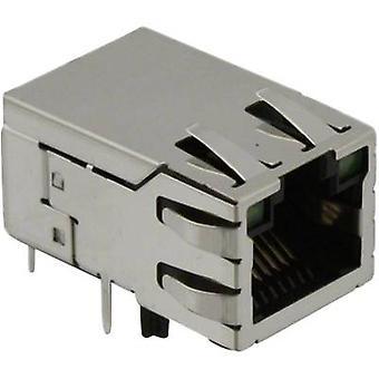 MagJack 10/100Base-TX 4 lähetin LED pistorasia, horisontaalisten mount 10/100Base-TX nastojen määrä: 8P8C SI-50170-F nikkeli-pinnoitettu, metalli BEL Stewart