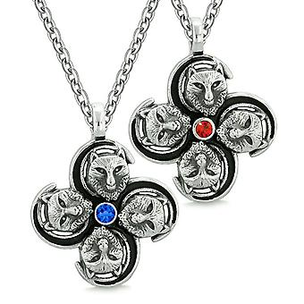 Supernatural Courage Wolf Amulets Love Couples Best Friends Blue Red Crystals Pendant Necklaces