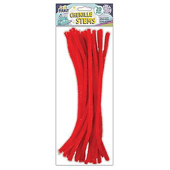 Craft Planet Red Coloured Chenille Stems Pack Of 20