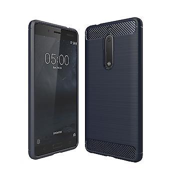 Nokia 5 TPU caso carbono fibra óptica escovado azul caixa protetora