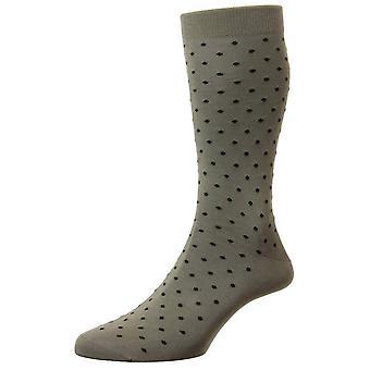 Pantherella Streatham All Over Spot Cotton Lisle Socks - Light Olive Green