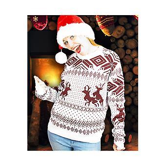 Trajes de los hombres traviesos renos de Navidad feo suéter marrón blanco unisex