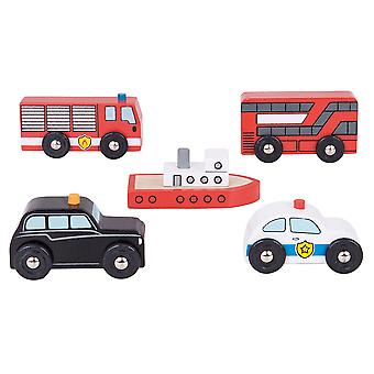 Bigjigs Rail Wooden City Vehicle Car Pack Accessory Play Set