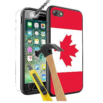 For Apple iPhone 7 - Canada Flag Design Printed Black Case Skin Cover with Tempered Glass - 0032 by i-Tronixs