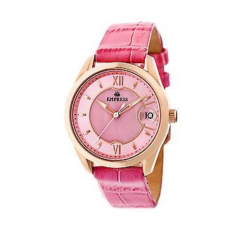 Empress Messalina Automatic MOP Leather-Band Watch w/Date - Pink