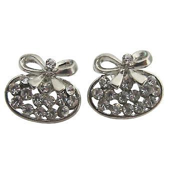 Cadeau de vacances arc argent boucles d'oreilles minuscules petits zircons Studs