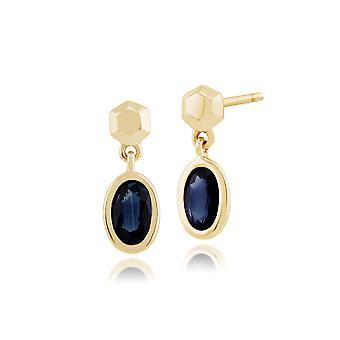 Classic Oval Sapphire Bezel Set Drop Earrings in 9ct Yellow Gold 135E1232029