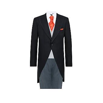 Dobell Mens negro espiga 2 pieza mañana traje Regular Fit rayas pantalones