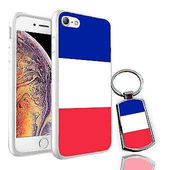 For Samsung Galaxy J4 2018 - France Flag Design Printed White Case Skin Cover + Free Metal Keyring - 0061 by i-Tronixs