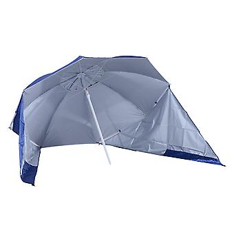 Outsunny UV Protection Fishing Beach Umbrella Brolly Shelter /w Side Panel Tent Blue