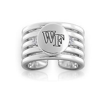 Wake Forest University grabado plata esterlina diamantes multibanda gemelo anillo