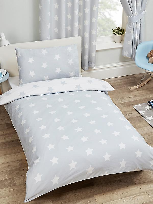 Grey and White Stars Duvet Cover and Pillowcase Set