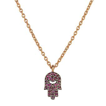Hamsa Hand of Fatima Necklace Rose Gold Ruby Red Gemstone Pendant Charm 925 Gift