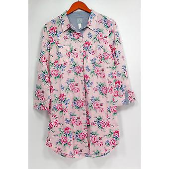 Jane & Becker New York Women's Sleepshirt Buttoned Long Sleeve Pink A264419