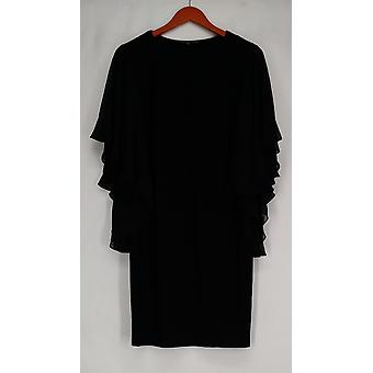 aDRESSing Woman Dress V-Neck Dress W/ Woven Flutter Sleeves Black A422785