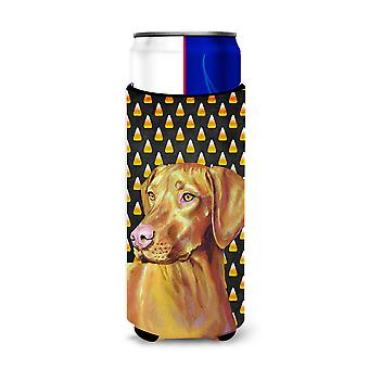 Vizsla Candy Corn Halloween Portrait Ultra Beverage Insulators for slim cans LH9