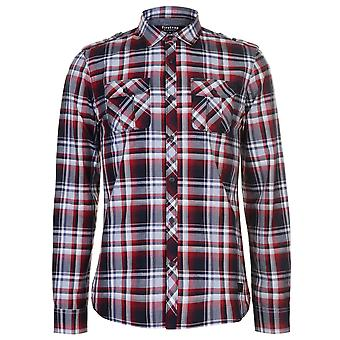 Firetrap Mens Blackseal lång muff rutig skjorta Casual lättvikts bomull