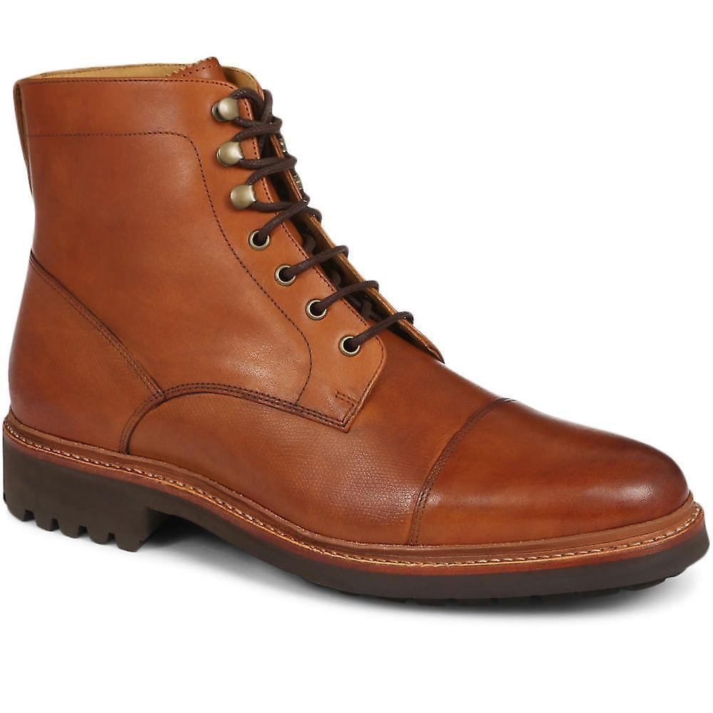 Goodyear welted lace-up leather ankle boot