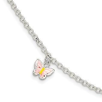 925 Sterling Silver for boys or girls Enameled Butterfly Angel Wings With 1.5inch Ext. Bracelet 5.5 Inch