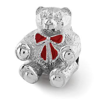 925 Sterling Silber Reflexionen Bär mit emaillierte Schleife Perle Anhänger Anhänger Halskette Schmuck Geschenke für Frauen