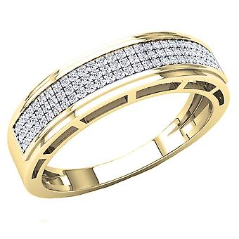 Dazzlingrock Collection 0.25 Carat (Ctw) 10K Round White Diamond Men's Hip Hop Wedding Band 1/4 CT, Yellow Gold